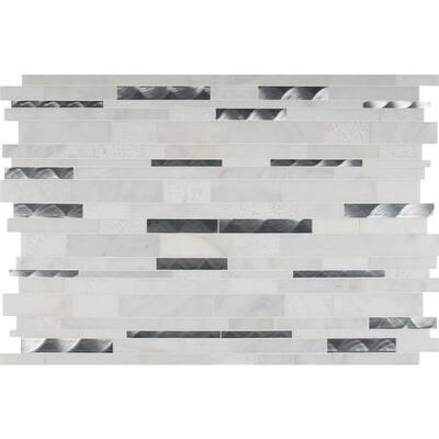 Modern Tessellation Interlocking 12 in. x 18 in. x 8 mm Metal Stone Blend Mesh-Mounted Mosaic Tile (15 sq. ft. / case)