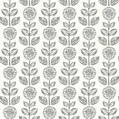 Dolly Dark Brown Folk Floral Dark Brown Paper Strippable Roll (Covers 56.4 sq. ft.)
