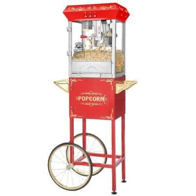 8 oz. Carnival Red Hot Oil Popcorn Machine with Cart