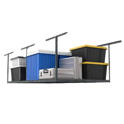 GearLoft Gunmetal Gray Adjustable Height Overhead Garage Storage Rack (48 in W x 96 in D)
