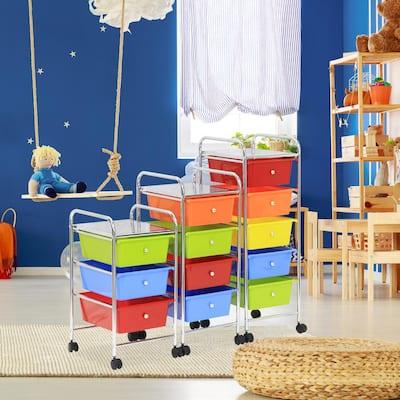 Wayar 5-shelf Chrome 4-Wheeled 5-Drawer Trolley in Rainbow