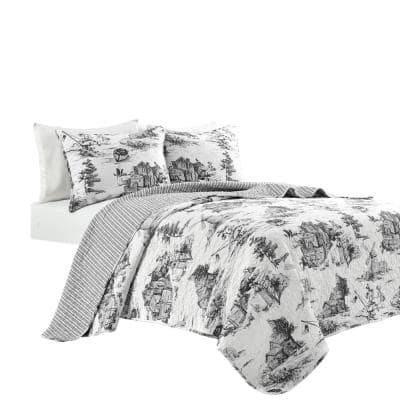 French Country Toile Cotton Reversible Quilt White/Charcoal 3Pc Set Full/Queen