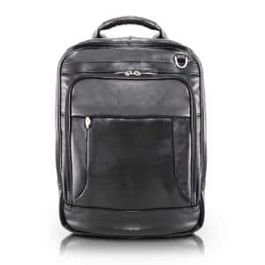 Lincoln Park Full Grain Cashmere Napa Leather 15 in. Black 3-Way Backpack Laptop Briefcase