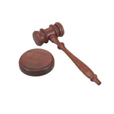 Natural Brown Handcrafted Wooden Gavel and Round Block Set