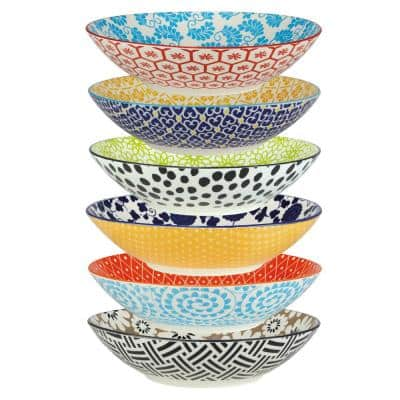 Chelsea Multicolored Porcelain 9 in. 32 oz. Dinner Bowls (Set of 6)