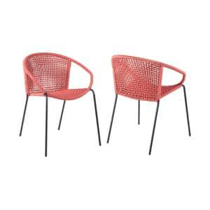 Snack Stackable Steel Indoor Outdoor Dining Chair with Brick Red Rope (Set of 2)