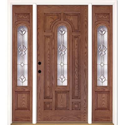 63.5 in.x81.625 in. Medina Brass Center Arch Lt Stained Medium Oak Right-Hand Fiberglass Prehung Front Door w/ Sidelites