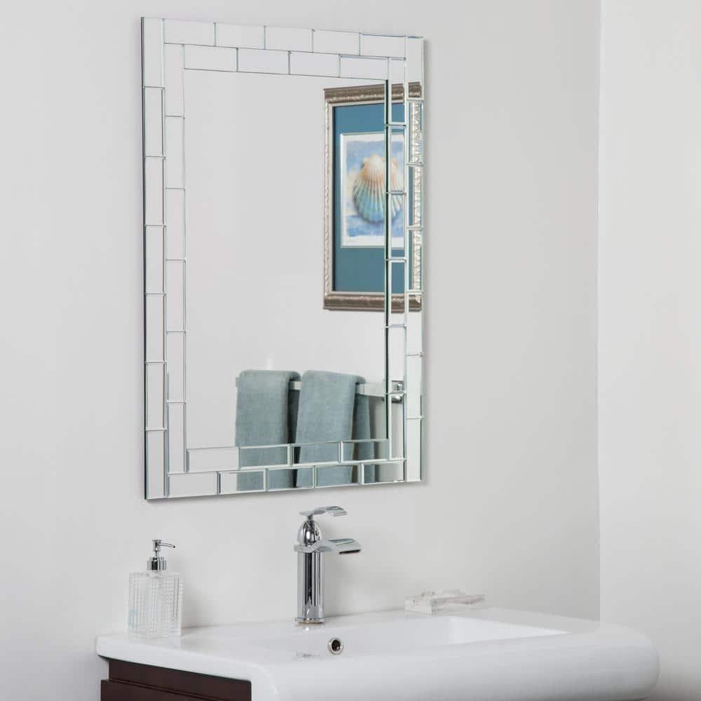 Decor Wonderland 24 In W X 32 In H Frameless Rectangular Beveled Edge Bathroom Vanity Mirror In Silver Dwsm414 2 The Home Depot