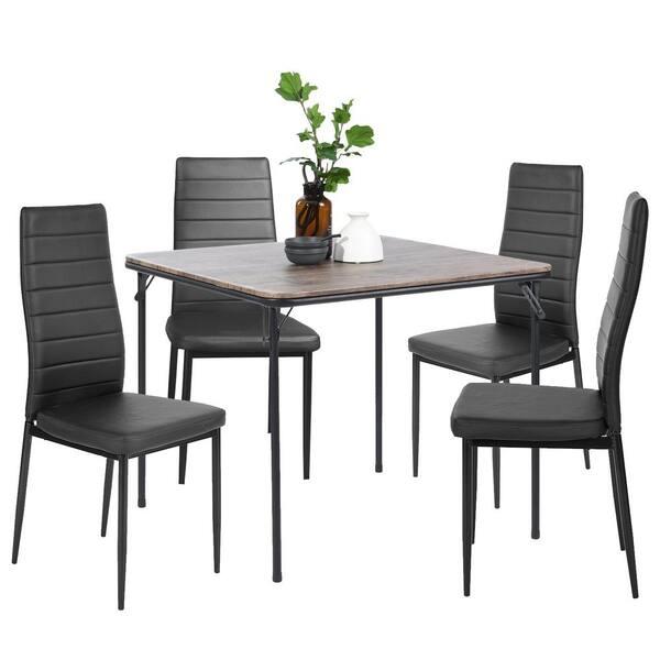 Furniturer Ann Black High Backrest, Black Wooden Dining Chairs Set Of 4