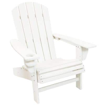 All-Weather White Plastic Outdoor Adirondack Chair with Drink Holder
