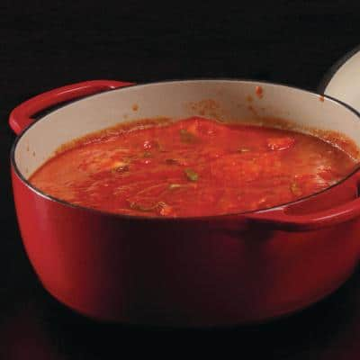 Enamelware 7.5 qt. Round Cast Iron Dutch Oven in Red Enamel with Lid
