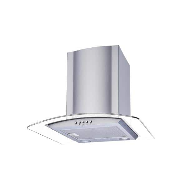 Winflo 30 In Convertible Glass Wall Mount Range Hood In Stainless Steel With Mesh Filters And Push Button Control Wr001c30 The Home Depot