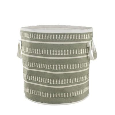 Dash Stripe Green / White Geometric Polyester Indoor/Outdoor Storage Basket