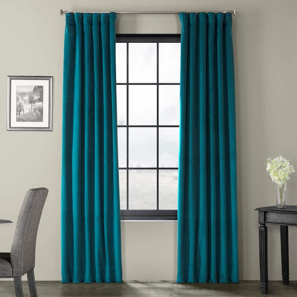 Exclusive Fabrics Furnishings Everglade Teal Velvet Rod Pocket Blackout Curtain 50 In W X 96 In L Vpch 140804 96 The Home Depot