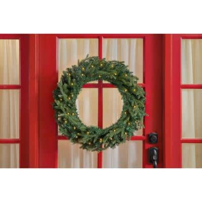 30 in. Mayfield Prelit LED Artificial Christmas Wreath With 35 Warm White Micro Dot Light