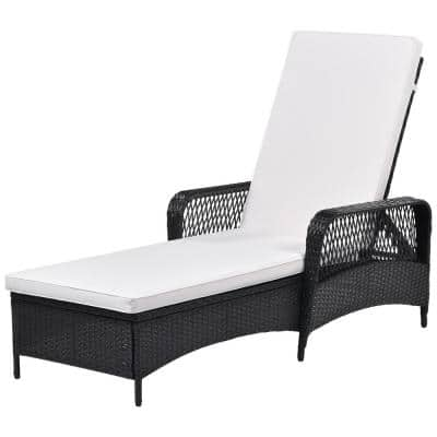 Florence Black 1-Piece Wicker Outdoor Chaise Lounge with Beige Cushions