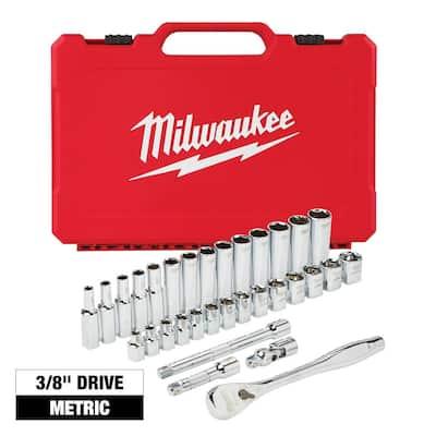 3/8 in. Drive Metric Ratchet and Socket Mechanics Tool Set (32-Piece)