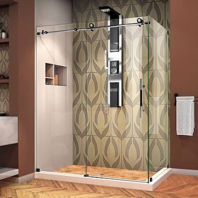 Enigma-XT 56 3/8 to 60 3/8 in. x 76 in. Frameless Sliding Corner Shower Enclosure Tuxedo