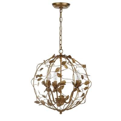Austen 3-Light Gold Leaf Cage Chandelier