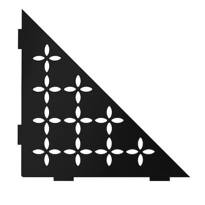 Shelf-E Matte Black Color-Coated Aluminum Floral Triangular Corner Shelf