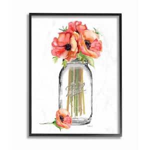 16 in. x 20 in. ''Mason Jar Poppies'' by Amanda Greenwood Wood Framed Wall Art