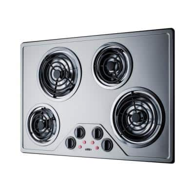 29.38 in. Coil Top Electric Cooktop in Stainless Steel with 4-Elements