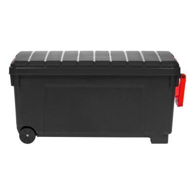 173 Qt. Stackble Rolling Storage Tote, with Heavey-duty Red Buckles, in Black