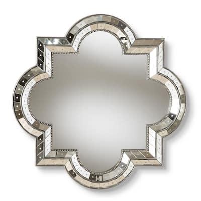 Medium Round Antique Silver Art Deco Mirror (34 in. H x 34 in. W)