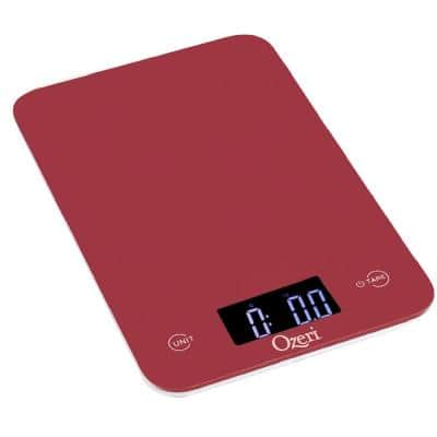 Touch Professional Digital Kitchen Scale (12 lbs. Edition), Tempered Glass in Red
