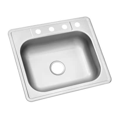 Drop-In Stainless Steel 25 in. 4-Hole Single Bowl Kitchen Sink