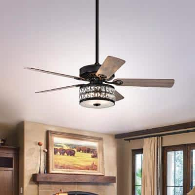 Daphne 52 in. Indoor Matte Black Ceiling Fan with Light and Remote Control