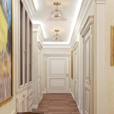 Vida 13 in. 3-Light Antique Gold Semi Flush Mount Lighting Modern Foyer with Open Seedy Glass Shade