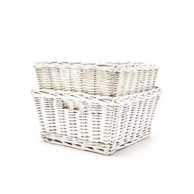 12.25 in. D x 12.25 in. W x 6.25 in. H Nested White Wicker Baskets (Set of 2)
