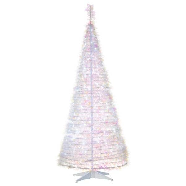 Sterling Tree Company 6 Ft Artificial Pop Up Led Iridescent Pine Tree 6462 60mlww The Home Depot