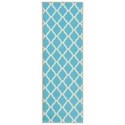Ottomanson Glamour Collection Contemporary Moroccan Trellis Design Blue 2 Ft X 5 Ft Kids Runner Rug Pnk7026 20x59 The Home Depot
