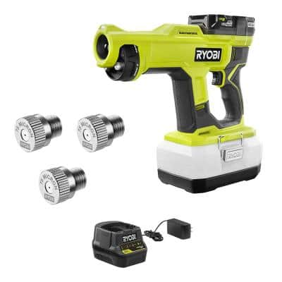 ONE+ 18V Cordless Handheld Electrostatic Sprayer Kit with Battery, Charger, and 75 mic Replacement Nozzle (3-Pack)