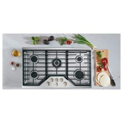36 in. Gas Cooktop in Stainless Steel and Brushed Bronze with 5 Burners Including 20,000 BTU Triple Ring Burner