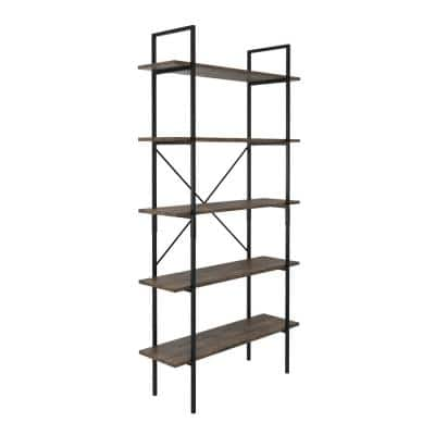 68 in. Brown Wooden 5-Shelf Etagere Bookcase with Steel Frame