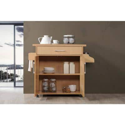 Beech Kitchen Island with Spice Rack and Towel Holder