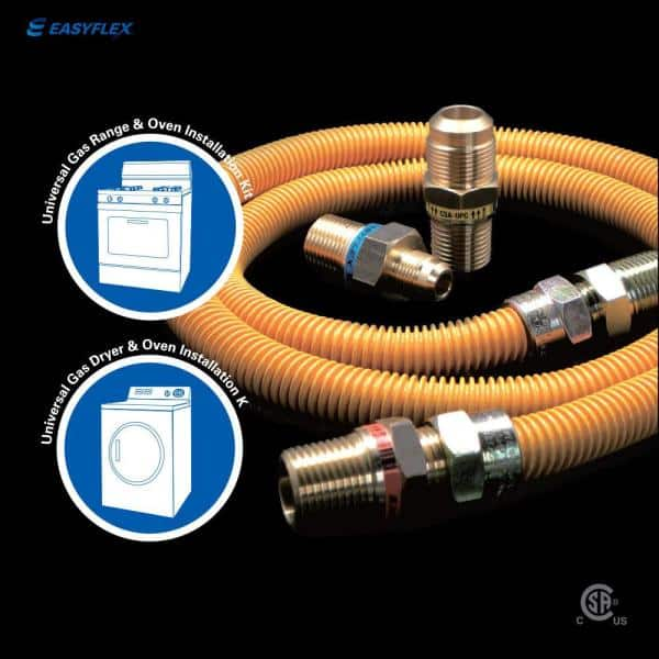 Easyflex 1 2 In Mip X 1 2 In Mip X 48 In Coated Stainless Steel Gas Connector 1 2 In O D With Gastop Efv 60 500 Btu Efgc038ye10a1048 The Home Depot