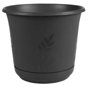 Freesia 12 in. Black Plastic Planter with Saucer