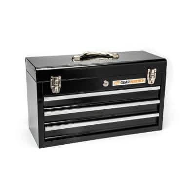 20 in. 3-Drawer Steel Tool Box in Black