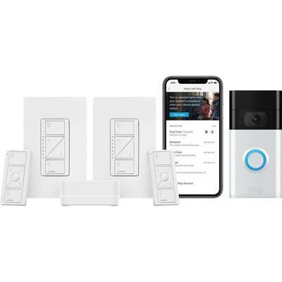Caseta Wireless Smart Lighting Dimmer Switch (2-Count) Starter Kit, Ring1080p Smart Video Doorbell Camera (2020 Release)