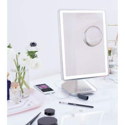 """10"""" x 13"""" Reflect PRO Portable, Adjustable Vanity Mirror with Bluetooth Audio/Speakerphone and USB Charging"""