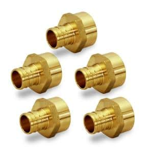 3/4 in. Brass Male Sweat Copper Adapter x 5/8 in. Pex Barb Pipe Fitting (5-Pack)