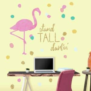 5 in. x 19 in. Stand Tall Flamingo 28-Piece Peel and Stick Wall Decals with Glitter