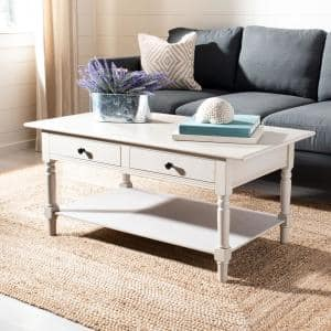 Boris 42 in. Vintage Gray Large Rectangle Wood Coffee Table with Drawers