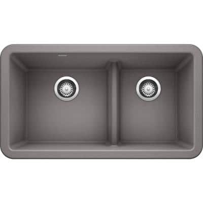 Ikon Metallic Gray Granite 33 in. Double Bowl Farmhouse Apron Kitchen Sink