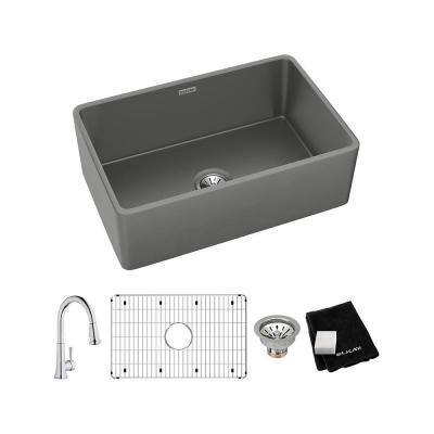 Gray Fireclay 30 in. Single Bowl Farmhouse Apron Kitchen Sink Kit with Faucet
