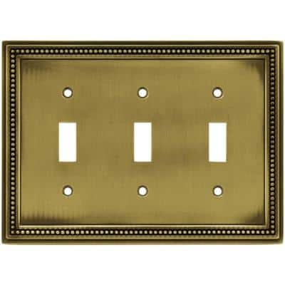 Brass 3-Gang 3-Toggle Wall Plate (1-Pack)